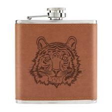 Tiger Face 6oz PU Leather Hip Flask Tan - Funny Animal