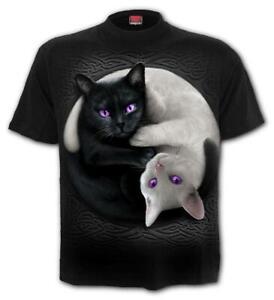 YIN YANG CATS TEE T SHIRT TOP BY SPIRAL GOTH BLACK WHITE CUTE KITTENS PURPLE EYE