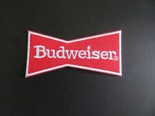 """BUDWEISER BEER"""" RED & WHITE EMBROIDERED IRON ON PATCHES  2 X 4-1/4"""