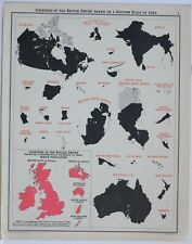 1905 MAP BRITISH EMPIRE COUNTIES UNIFORM SCALE INDIA CANADA AUSTRALIA POPULATION