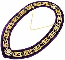 Masonic Regalia PAST MASTER Metal Chain Collar PURPLE Backing DMR-1300GP