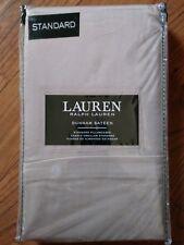 Ralph Lauren Dunham Sateen Pillowcases  Standard - Beige Khaki Cotton NWT
