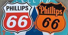 PHILLIPS 66 GASOLINE SHIELDS  porcelain coated 18 GAUGE steel signs