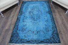 """Vintage Handmade Overdyed Turquoise Turkish Oushak Rug  80""""x44"""""""