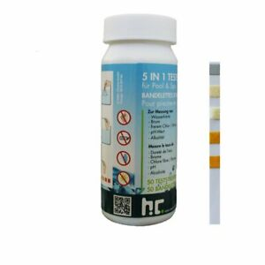 50 Stück Pool Wasser Teststreifen 5 in 1 Schwimmbad Messung Alkalinität pH Chlor