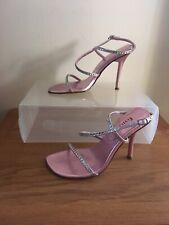 Faith Pink Sparkly Diamante Strappy High Heels Size 5 Uk  Metallic Ladies Shoes