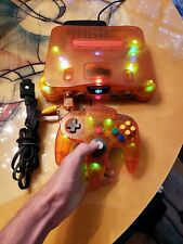 Clear Orange Funtastic Nintendo 64 with Groovy Lights and Strobe Controller