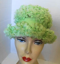 Vintage Green Floral Covered Hat Grosgrain Ribbon