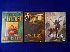 Lot of 3 R.A. Salvatore;Immortalis-1st ED,Pirate King,Orc King, All 1st PR,DJ,HC