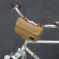 Tourbon Classic Canvas Bike Bicycle Handlebar Saddle Seat Bag with Cord Hole