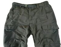 North Face Men's Size XL Gray Belted Convertible Cargo Pants Shorts Zipper Belt