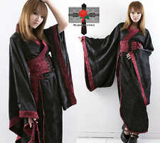 Japan Kyoto Tailored Visual Kei DYNASTY Geisha Silk Burgundy Pouch Kimono Dress