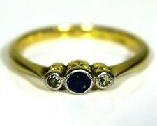 Art Deco Sapphire Diamond Trilogy 18ct Yellow Gold Platinum Ring K 1/2 ~ 5 1/2