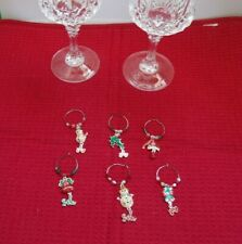Chirstmas/Holiday Wine Glass Stem Charms 6 Cute