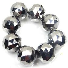 20mm Large Metallic silver Glass Quartz Faceted Round Ball Focal Beads