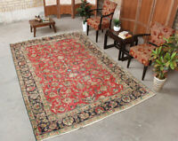 6x9 Vintage Hand Knotted Traditional Bordered Floral Wool Red Black Area Rug