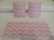 Baby Pram Stroller Front Handle Bumper Bar Cover + Strap Covers - Pink Chevron