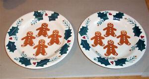 "2 Hartstone Pottery Gingerbread Man Salad/Dessert 7¾"" Plates, Good Preowned Care"