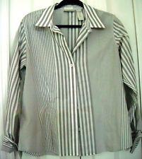 Liz Claiborne-Size 12-Striped Grey Blouse-Button down-Non Iron-Cuffs-Long Sleeve