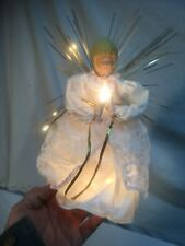 """Vintage Lighted Christmas Angel Tree Topper 9"""" tall Original Box Package"""
