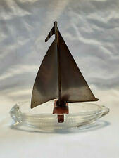 Vtg Collectible MCM Art Deco Clear Glass Tin Sail Ashtray