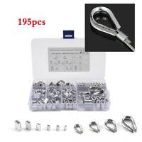 195x Mixed Stainless Steel Thimble +Aluminum Crimping Loop Sleeve Assortment Kit