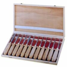12 Pc Wood Carving Chisel Set in Wood Case gouge skew spoon parting