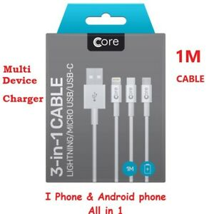 Universal 3 in1 Multi USB Fast Charging Cable for iPhone & Android Phones 1M
