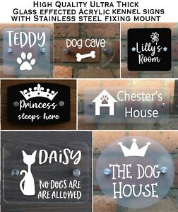 House Glass Effect Sign Plaques Pet Kennel Door Sign Personalised Acrylic Plate