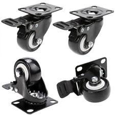 "4pcs/set Heavy Duty Swivel Casters with Brakes Top Plate 2"" Polyurethane Wheels"