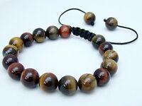 Men's Shamballa bracelet all 10mm  TIGER EYE STONE  beads