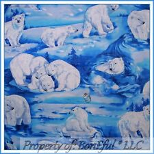 BonEful Fabric FQ Cotton Blue White Snow Ice Arctic Water Scenic Polar Bear Swim