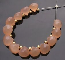 12 NATURAL GEMS PEACH PINK MOONSTONE FACETED ONION BRIOLETTE BEADS 5.5-6 mm P32