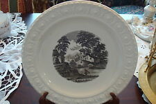 Wedgwood Etruria made in England plate, molded, black tranfer design[#17]