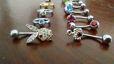 Lot Sixteen Silver Cz Gemstone Body Pierced Belly Button Navel Rings Barbells