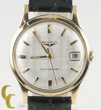 Benrus Gold-Plated Shock Absorber Watch w/ Date Leather Band Gift for Him