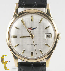 Benrus Gold-Plated Shock Absorber  Watch w/ Date Leather Band Gift for Him!