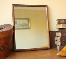 Antique Wood Wall Mirror. Slightly Distressed Silvered Foxed Rectangle Mirror.