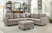 Contemporary Sectional Sofa Set Couch Microsuede Reversible Chaise Light Gray