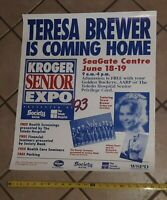 Teresa Brewer signed autographed POSTER TOLEDO OHIO RETURN 1993 100% authentic
