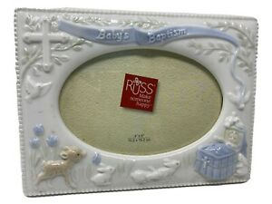 Russ 4x6 Ceramic Baby's Baptism Picture Frame New And Never Used