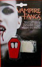 Zanne da Vampiro Dracula Halloween Fancy Dress DENTI NATURALI BIANCO CON MASTICE Morso