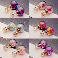 Hot Women Lady Girl Elegant Flower Round Rhinestone Ear Stud Earrings 2 Pair