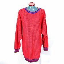 80s Loose Knit Sweater Hot Pink Vintage Robin Ross Oversized Dress Chunky Knit
