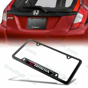 1PCS HONDA LOGO Black Metal Stainless Steel License Plate Frame NEW