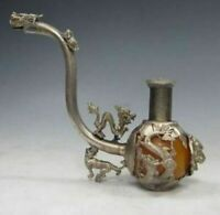 CHINA SILVER COPPER DRAGON PHOENIX INLAID JADE HANDWORK TIGER SMOKING TOOL