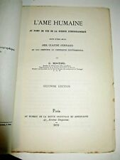 SCHOEBEL L'AME HUMAINE & SCIENCE ETHNOGRAPHIQUE 1879 EXPERIENCE CLAUDE BERNARD