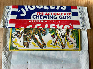 1950 JIGGLEY Circus + Western Card with Bubble Gum + Wax Wrapper / Mint card!