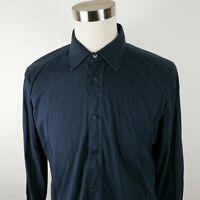 Hugo Boss Mens Stretch Cotton Slim Fit LS Button Down Navy Dress Shirt Large