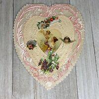 "Antique Valentine Large Heart Paper Lace Diecuts Mother & Child 8"""